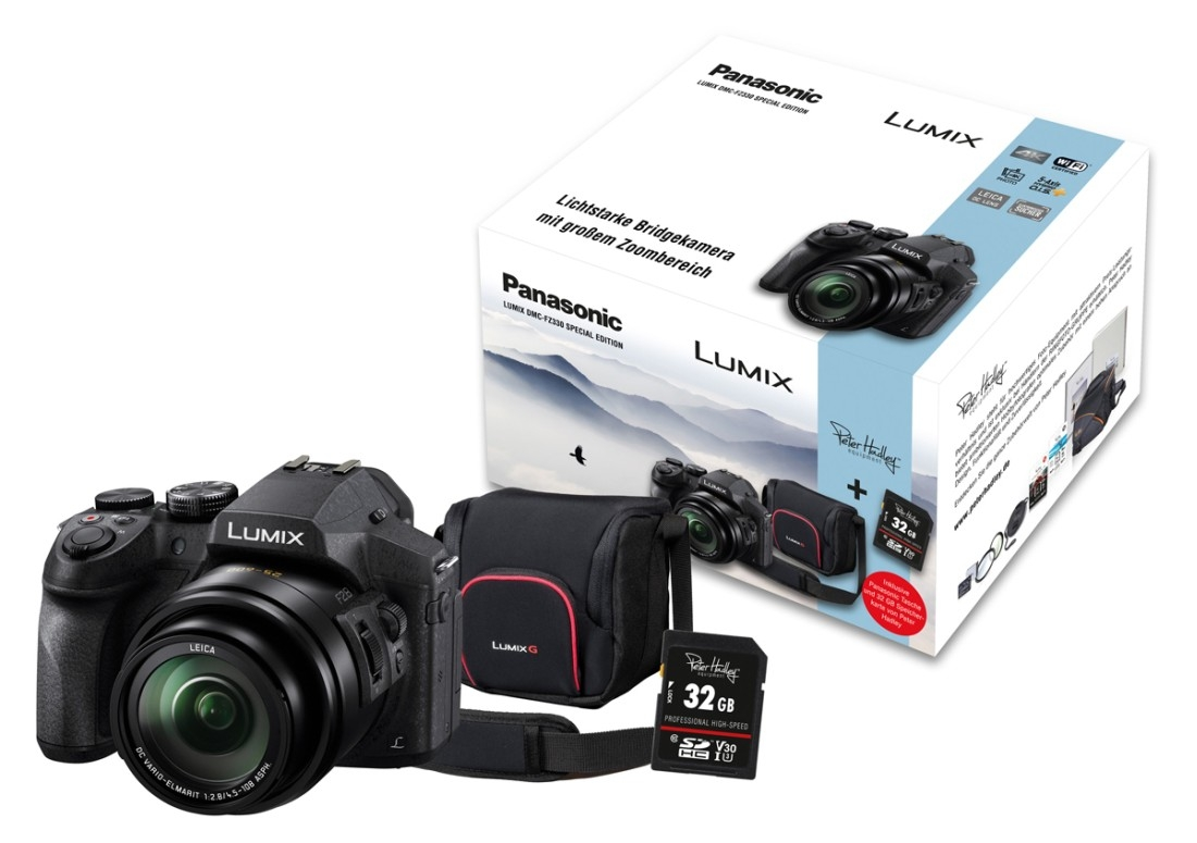 Panasonic DMC-FZ330 EG-K Bridgekamera + Zubehörpaket 32GB SDHC + Tasche