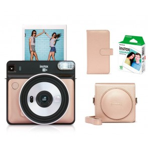 Fuji Instax Square SQ6 blush gold + Zubehörpaket Tasche+ Film+ Album